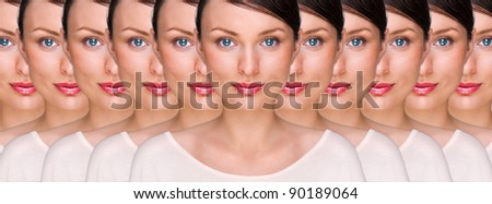 Pretty young woman standing with her clones against white background. Business cloning concept or rejuvenation with stem cells concept