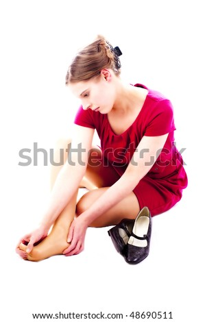 pretty young woman take off her shoes