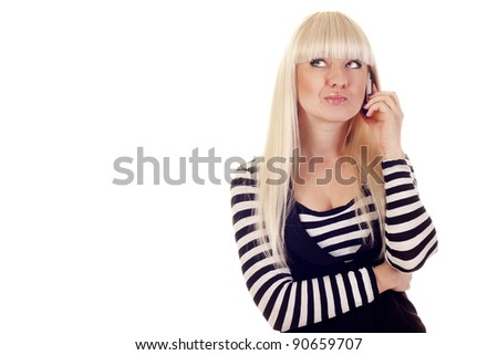 Pretty young woman talking by mobile