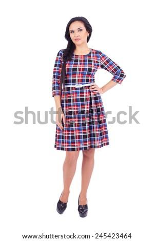 pretty young woman wearing a short dress
