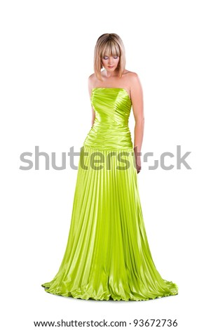 pretty young woman wearing green gown posing isolated on white  background
