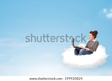 Pretty young woman with laptop sitting on cloud with empty space #199920824