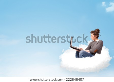 Pretty young woman with laptop sitting on cloud with empty space #222848407
