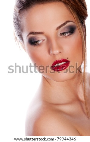 Pretty young woman with red lips on white background