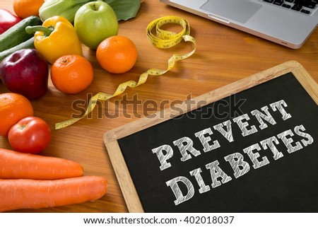 PREVENT DIABETES concept, fruit and tape measure on a wooden table, top view, Stock photo ©