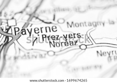 Prez vers Noreaz on a geographical map of Switzerland Stock fotó ©