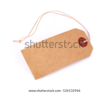 Price label note with rope isolated on white background #526132966