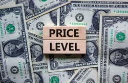 Price level symbol. Concept words 'Price level' on wooden blocks on a beautiful background from dollar bills. Business and price level concept.