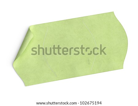 price tag, blank green sticker over white background with texture, and bended corner