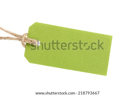 price tag from recycled paper on twine cord isolated on white background