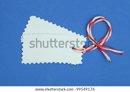 price tag on  blue background
