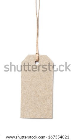price tag on waxed cord from recycled paper white background