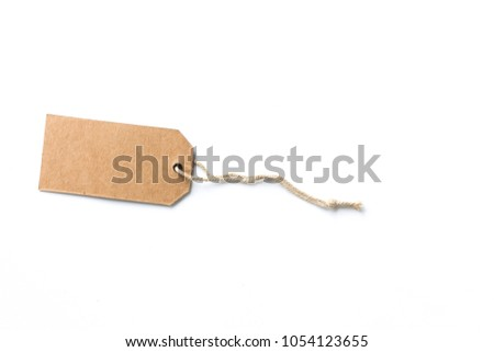 price tag or label with thread isolated white background.Blank brown price tag.price tag label #1054123655