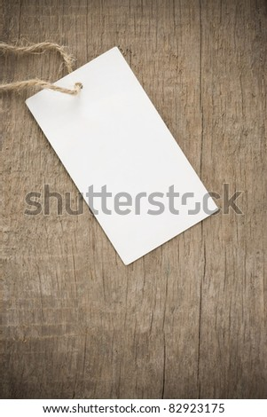 price tag over wood texture