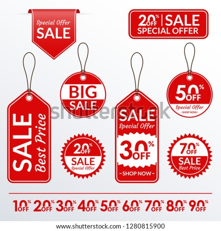 Price tag set. Sale and discount labels collection. Price off stickers. #1280815900