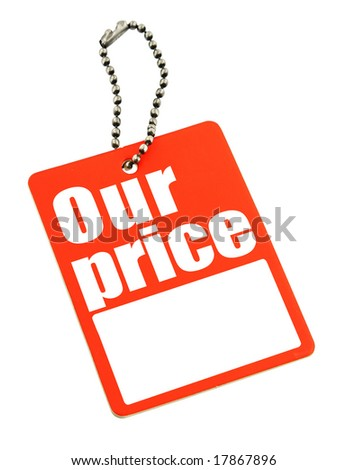 price tag with copy space isolated on white, photo does not infringe any copyright