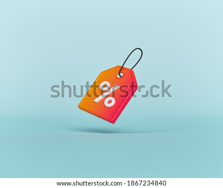 price tag with percentage sign. Shopping Discount offer icon, symbol. minimal concept. 3d rendering