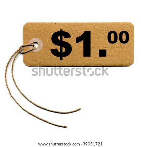 Price tag with string isolated over white - 1 Dollar