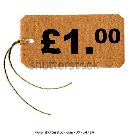 Price tag with string isolated over white, one pound (1.00 GBP)