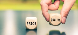 Price versus Quality. The cube with the word