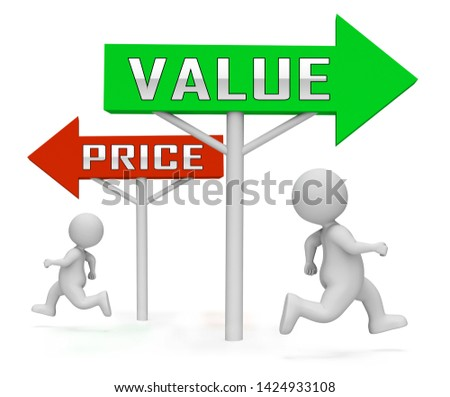 Price Vs Value Signs Comparing Cost Outlay Against Financial Worth. Product Pricing Strategy Or Investment Valuation - 3d Illustration