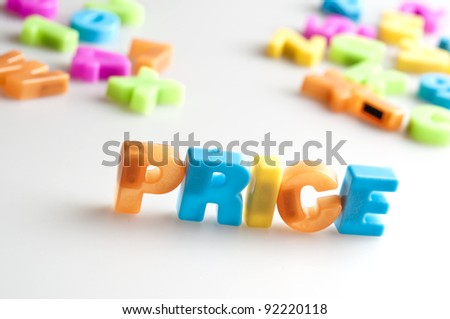 Price word made by color letters