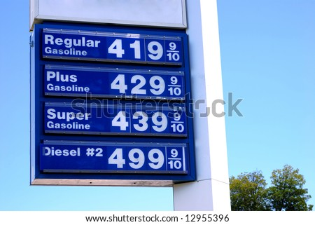 Prices top $4 per gallon for gasoline and $5 for diesel in the United States - stock photo