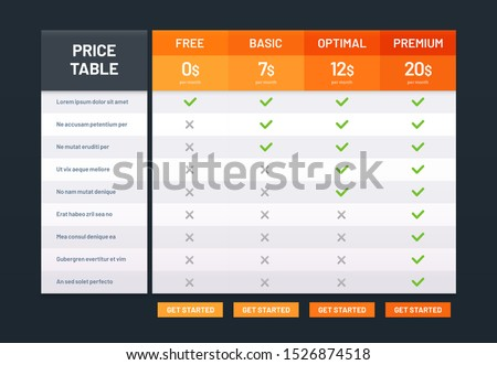 Pricing table. Tariff comparison list, price plans desk and prices plan grid chart template. Prices plan, website tariff chart checklist  illustration