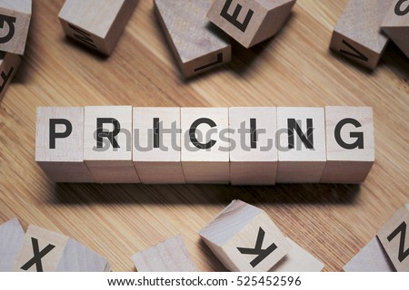 Pricing Word Written In Wooden Cube #525452596