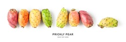 Prickly pear fruits creative banner isolated on white background. Healthy food and dieting concept. Tropical cactus fruit composition and border. Top view, flat lay