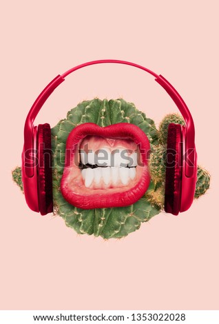 Prickly sound. Specific is not strange music taste. Green juicy cactus as a meloman head with big scratching and creaking mouth, red lips and headphones. Modern design. Contemporary art collage.