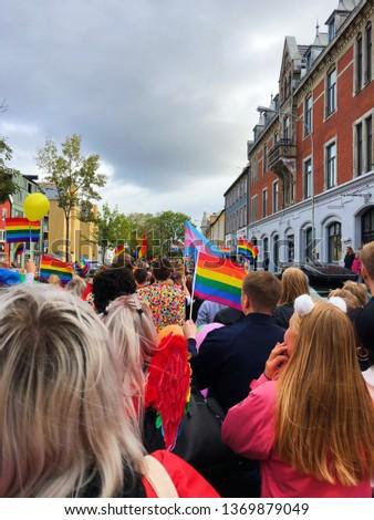 Pride parade and pride flags