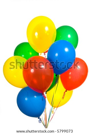 Primary color ballons arranged in a bouquet for a birthday party or other type celebration