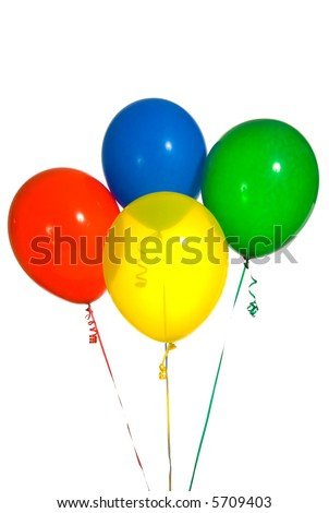 Primary color balloons arranged in a bouquet for a birthday party or other type celebration