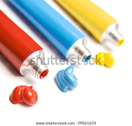 Primary Color Paints, Very Shallow DOF ,focus on red paint