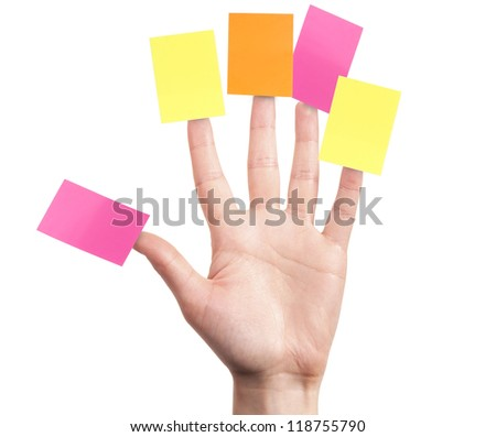 primary goals planning strategy concept - woman's finger  with note isolated