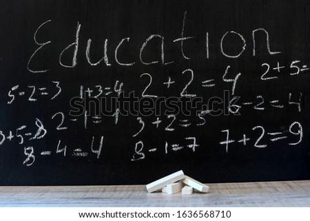 primary  maths formulas written on the blackboard background.