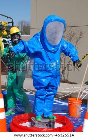 Primary Scrub in the DECON Corridor, Hazardous Materials Technician Training Drill at Mercy Medical Center, Simulated Chlorine release