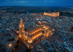 Primate Cathedral of Saint Mary of Toledo aerial view at night in Spain