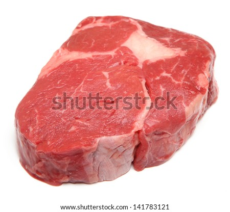 Prime raw rib-eye steak