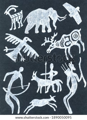 Primitive rock paintings of ancient ethnic people and animals.Deer,goat,birds,mammoth,hunters with bows,arrows.Chalkboard style.White Flat silhouettes on black.retro symbolic scribble style.stone age ストックフォト ©