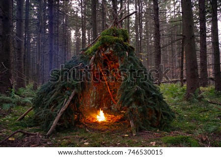 primitive wikiup shelter in the ...