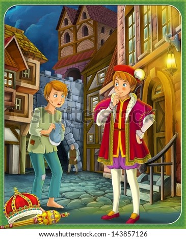 Prince and the Pauper Prince or princess castles knights and fairies illustration for the children