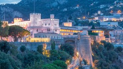 Prince's Palace of Monaco day to night transition timelapse with observation deck - It is the official residence of the Prince of Monaco. Built in 1191. Summer evening