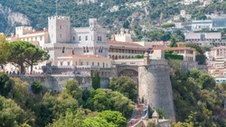Prince's Palace of Monaco timelapse with observation deck - It is the official residence of the Prince of Monaco. Built in 1191. Sunny summer day