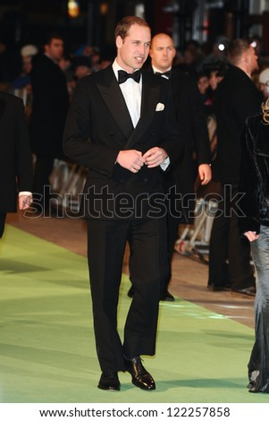 "Prince William, Duke of Cambridge arriving for the premiere of ""The Hobbit: An Unexpected Journey"" at the Odeon Leicester Square, London. 12/12/2012 Picture by: Steve Vas"