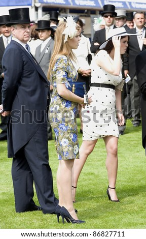 Princess Beatrice and Prince Eugenie attending The Epsom Derby Meeting at Epsom Downs Racecourse in Surrey. 4th June 2011.  05/06/2011  Picture by: Simon Burchell / Featureflash - stock photo