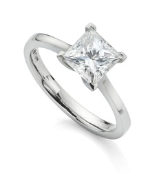 Princess Cut Diamond Engagement Ring with Square 1 Carat Gemstone on White Background