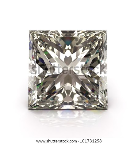 Princess cut diamond on white. Diamonds jewel.  High quality 3d render with HDRI lighting and ray traced textures.
