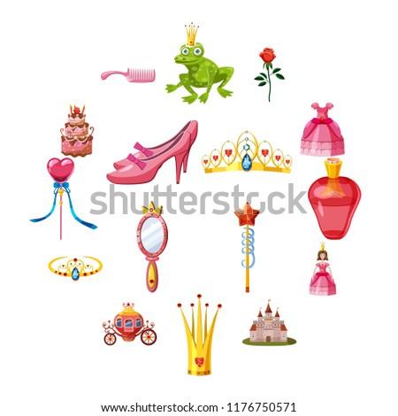 Princess fairytale doll icons set. Cartoon illustration of 16 princess fairytale doll icons for web